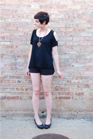 black cutout OASAP shirt - black vintage shorts