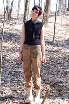 camel Steve Madden shoes - black 1960s shirt - tan duck Ralph Lauren pants