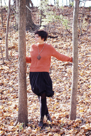 dark gray silk skirt - burnt orange sweater