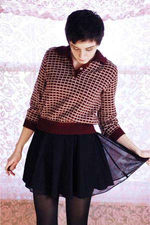 black vintage skirt - maroon vintage sweater