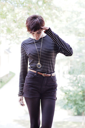 black striped shirt - black shorts - gold vintage necklace