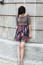 brown f21 skirt - pink vintage skirt