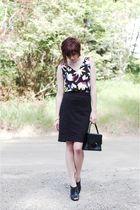 black unknown skirt - black vintage top - black Madden Girl shoes - black vintag