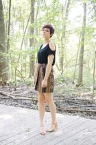 black OASAP shirt - brown tribal liz claiborne skirt