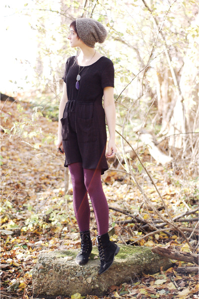 black Old Navy boots - black reconstructed dress - purple tights