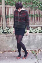 forest green vintage Anne Klein sweater - black ann taylor skirt