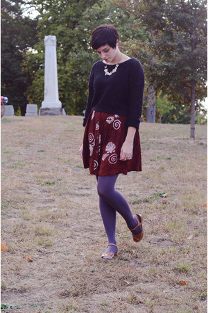 brick red dress - black H&M sweater - puce We Love Colors tights - bronze wedges