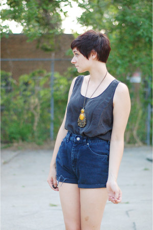 dark gray silk top - navy cut off vintage shorts