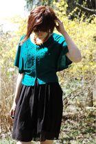 green H&M sweater - black bcbg Max studio dress - black Clavin Klein shoes