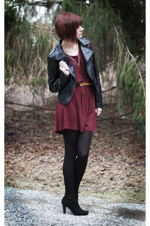 black jacket - black tights - red dress - black shoes - gold necklace