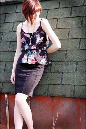 black Pac Sun top - black skirt - silver vintage necklace