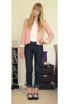 white vintage blouse - pink vintage cardigan - gray Alba Fan Club jeans - black