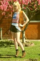 vintage shirt - leopard AmiClubWear boots - denim American Apparel shorts
