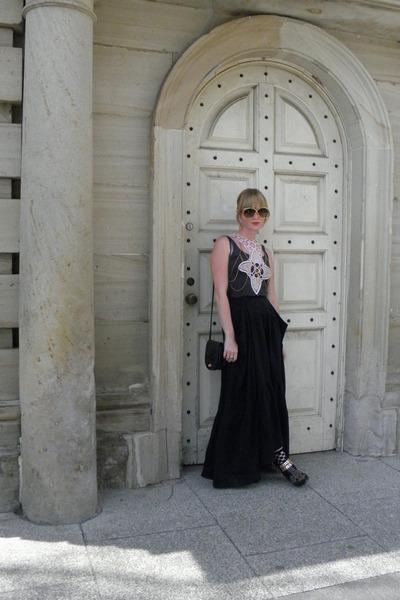 benatar Jeffrey campbells boots - LoveIt Jewelry shirt - black silk BCBG skirt