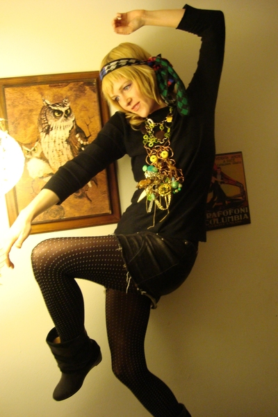 shirt - Un-Conventional necklace -  skirt - Marmalada boots - vintage scarf -