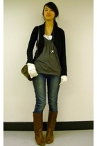 James Perse jacket - Urban Behaviour top - H&M gloves - purse - Bongo jeans - Ur