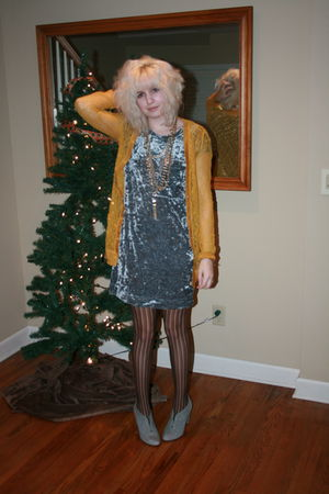 silver dress - brown tights - gray UO shoes - gold Rodarte for Target cardigan -