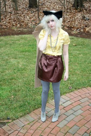 gold J Crew blouse - brown modcloth skirt - silver Charlotte Russe tights - gray