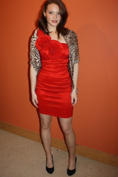 red Republic dress - bronze leopard print Zara blouse - black H&M heels