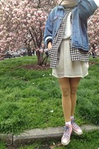 light blue jacket - nude scarf - bubble gum sneakers - white skirt