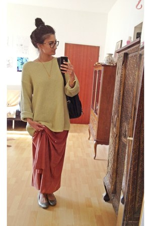 lime green thrifted sweater - tawny primark skirt - periwinkle vero moda flats
