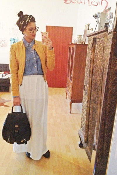 white maxi Zara skirt - mustard H&M jacket - blue jean thrifted shirt