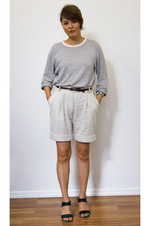 white Hugo Boss top - silver 31 Phillip Lim shorts - black Campers sandals