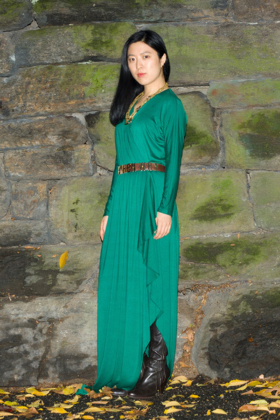 dark brown over the knee Max Studio boots - green Rachel Pally dress