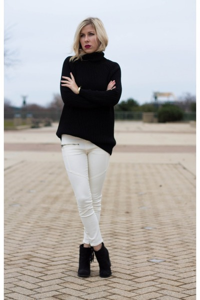 white jeans - black Forever 21 boots - black Mango sweater