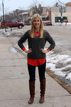 red Luci blouse - gray Macys sweater - black Forever 21 leggings