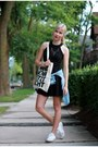 Black-kate-spade-dress-blue-gap-shirt-ivory-converse-sneakers