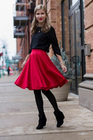 hot pink Sheinside skirt - black Forever21 boots - black Only blouse