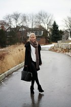 black Miss Sixty coat - black Forever 21 boots - ivory Lizzibeth sweater