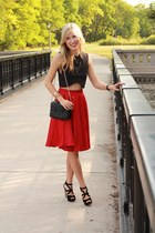 red Sheinside skirt - black Zara bag - black Dolce Vita heels