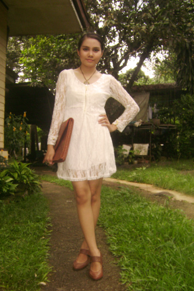 white lace dress OASAP dress - brown vintage thrifted shoes