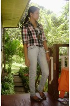 checkered thrifted top - Natasha Denim pants - rubber MSE Flats flats