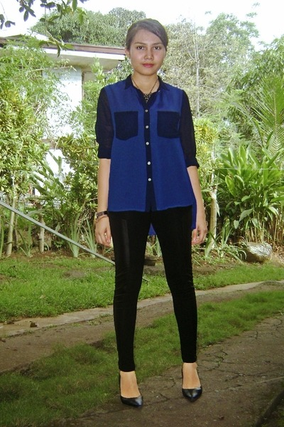 sheer blue polo Brands Outlet top - chicnova leggings