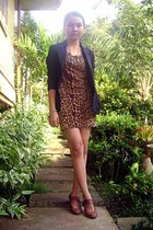 black black blazer Pink Blush blazer - burnt orange leopard printed OASAP dress