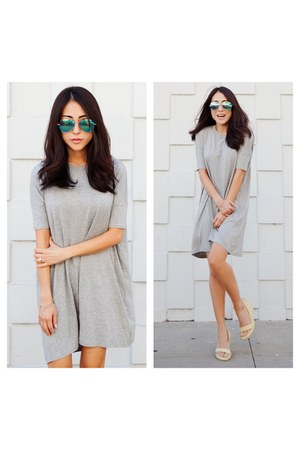 heather gray t shirt dress asos dress - yellow wedges Prada wedges