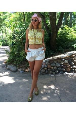 Lucy Paris top - Urban Outfitters shorts - Miu Miu sunglasses