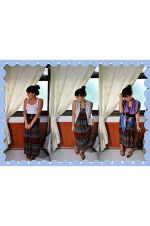 vintage skirt - Vintage Ananas vest - DIY accessories - vintage belt