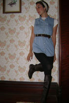 Nine West boots - vintage gap denim shirt blouse - Vintage leather belt - leggin