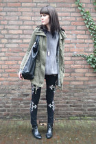 Ebay jeans - River Island boots - H&M coat - Zara sweater - River Island bag
