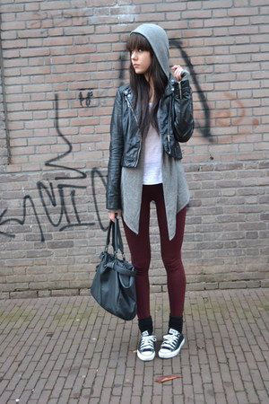 leather Zara jacket - Zara leggings - asos bag - allsaints cardigan