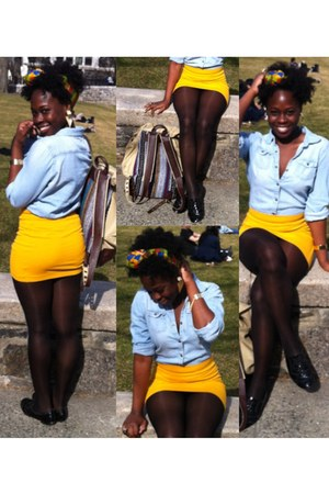 Forever21 skirt - Spring shoes - demin shirt - Forever21 bag - TJ Maxx stockings