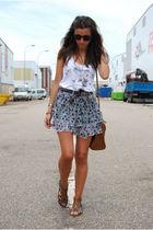 brown BLANCO shoes - brown Bimba & Lola bag - white Stradivarius t-shirt