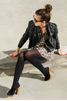 black BLANCO jacket - brown pull&bear dress - black Zara shoes - black Ray Ban g