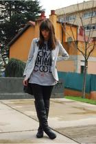 black Lamarca boots - black pull&bear t-shirt - silver pull&bear blazer - black