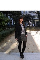 black pull&bear blazer - gray pull&bear skirt - white pull&bear t-shirt - black