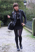 black H&M boots - black pull&bear dress - black BLANCO jacket - black Bimba&Lola